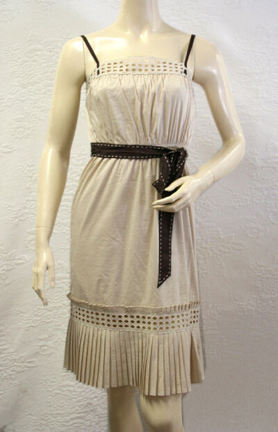 BCBG SOY EYELET SLEEVELESS COTTON DRESS NWT 4