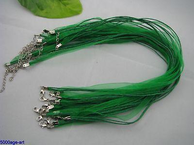 10pcs grass green Organza Ribbon Waxen Cord Necklaces