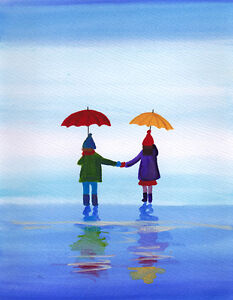 SCA-ART-SIGNED-PRINT-OF-ORIGINAL-PAINTING-CHILDREN-WALKING-IN-RAIN-UK-ARTIST