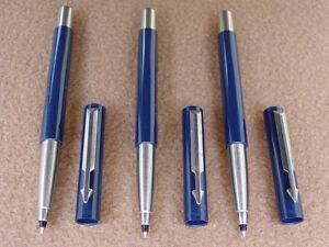 3er-Set-Parker-VECTOR-Rollerball-Tintenschreiber-in-blau-NEU-und-NOS