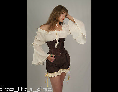 DRESS LIKE A PIRATE! PIRATE WENCH STEAMPUNK OR GYPSY BELL SLEEVE BLOUSE O/S-3X