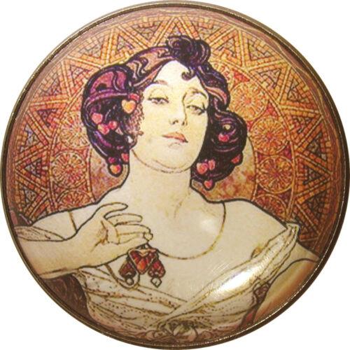 Art Nouveau Woman Button Crystal Dome LgSz M34