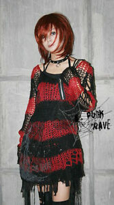 Visual-Kei-Punk-Gothic-kimono-lolita-nana-black-red-coat-Sweater-KNIT-one-size