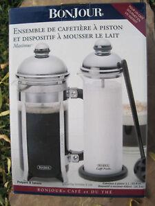 Williams sonoma bonjour french press coffee maker milk frother set 8 cups ebay - Williams sonoma coffee press ...