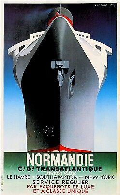 1920s Normandie Ocean Liner Art Travel Poster Advertisment Print Norway France