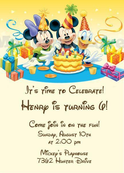10 Printed Mickey Mouse Friends Birthday Party Invitations 2nd 3rd