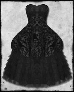 HELL-BUNNY-LAVINTAGE-BLACK-GOTH-STEAMPUNK-VTG-VICTORIAN-LONG-FLOCKED-PROM-DRESS