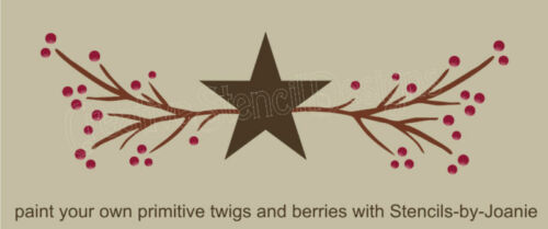 Stencil Country Primitive Twig Vine Pip Berry Star Garland Border Craft Art Sign