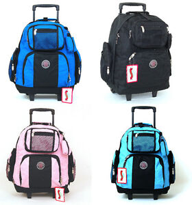 18-034-Wheeled-Backpack-Roomy-Rolling-Book-Bag-Drop-Handle-Carry-on-Luggage-Travel