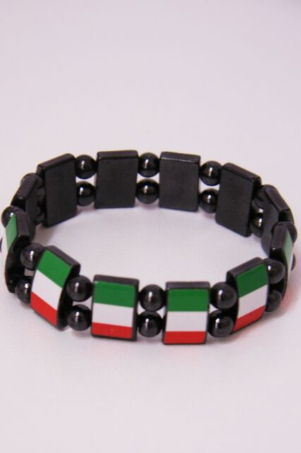 Italian Flag Bracelet Italy Magnetic Wrist Band Italia Metallic World Cup NEW
