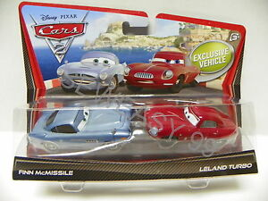 Disney-Pixar-Cars-2-Leland-Turbo-Finn-McMissile-2-Pack-IN-HAND-ready-to-ship