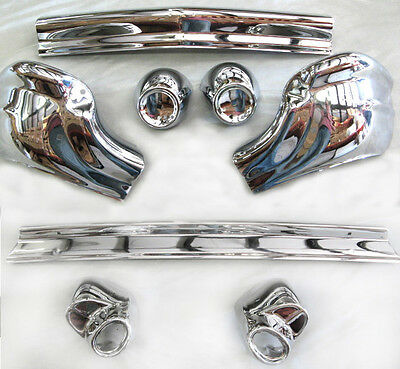 BLOWOUT! 1957 Chevy Chevrolet PAIR Front + Rear Bumpers 8pcs NEW!