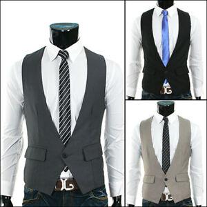 Korea-Mens-Vests-Casual-X-One-Button-Slim-3clr-VE03