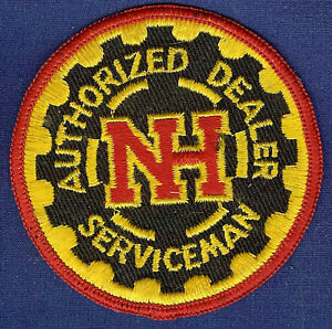 """LMH Patch NEW HOLLAND Tractor NH Authorized Dealer Serviceman Red Gear Logo 3"""""""