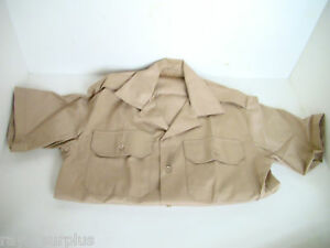 US-Military-Tan-Short-Sleeve-Dress-Shirt-Size-Small