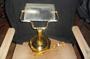 Bankers Lamp Clear Frosted Glass Shade Brass Finish Ebay