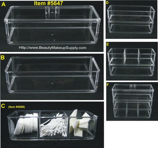 CLEAR ACRYLIC STACKABLE & EXPANDABLE STORAGE ORGANIZER BOX  w/ LID  #5647