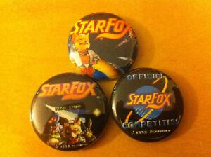Set-of-3-STARFOX-1-Pins-Buttons-SNES-Nintendo-Mario-Bros-super-Earthbound-kart