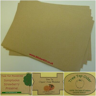 Self Adhesive Brown Kraft Paper; great for stickers & labels - 10 x A4 sheets