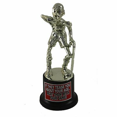 Over The Hill Cake Topper-Trophy Old Person With Cane