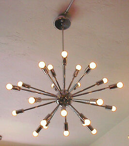 SPUTNIK-STARBURST-LIGHT-FIXTURE-CHANDELIER-LAMP-CHROME-24-034-24-ARM-W-BULBS