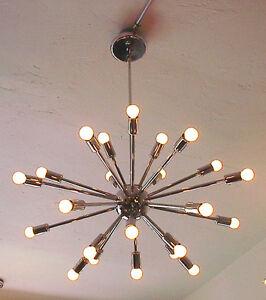 sputnik starburst light fixture chandelier lamp chrome 24. Black Bedroom Furniture Sets. Home Design Ideas