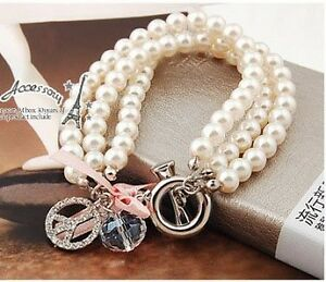 New-3pcs-Rows-Pearl-Chain-Crystal-Rhinestone-Peace-Symbol-Charms-Bracelet-0604