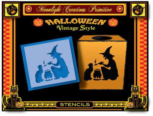 Stenci l~Halloween~WITCH'S HOT BREW MEDICINE~Black Cat Steaming Cauldron