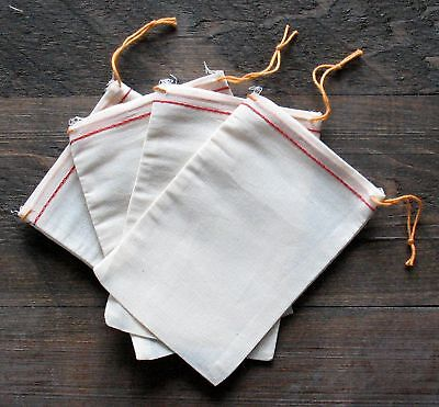 25 (4x6) Cotton Muslin Drawstring Bags Red Hem Orange Drawstring