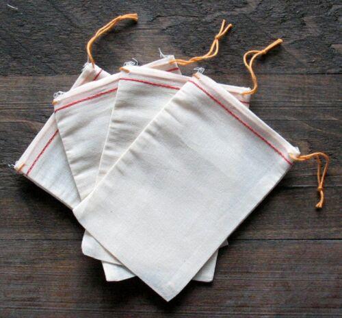 25 (4x6) Cotton Muslin Drawstring Bags Red Hem Orange Drawstring