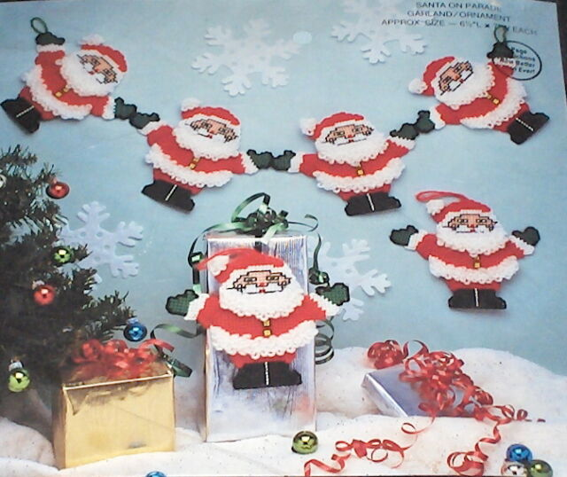 Santa Garland / Christmas Ornaments Plastic Canvas Kit NIP