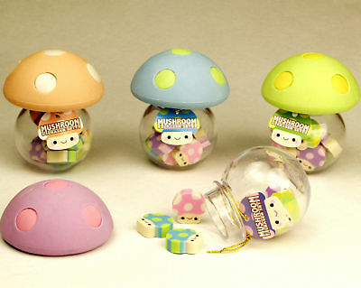 Novelty Cute Mushroom Mini Tiny Pencil Eraser Set