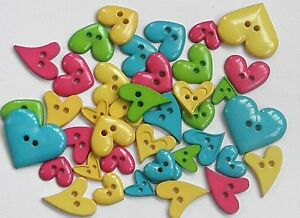 30g-Mixed-Heart-Shaped-Buttons-Bold-Colours-Hearts