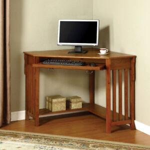 Toledo Oak Finish Corner Desk Ebay