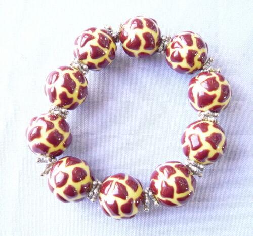 Animal Print Giraffe - Yellow and Black Resin Bead Bracelet New w/ Gift Bag