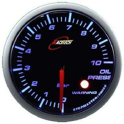Race Tech 52mm Stepper Motor BLUE LED SMOKE LENS OIL PRESSURE GAUGE