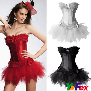 Ladies-Cabaret-Burlesque-Corset-Bustier-Halloween-Xmas-Party-Costume-Mini-Dress