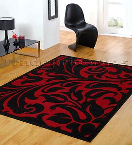 small extra large black red modern damask area floor rug discount price ebay. Black Bedroom Furniture Sets. Home Design Ideas