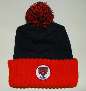 new chicago bears nfl vintage winter pom knit patch hat. Black Bedroom Furniture Sets. Home Design Ideas