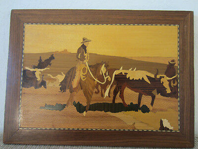 WESTERN AMERICANA, HAND MADE WOODEN INLAID COWBOY SCENE