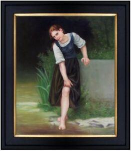 Framed-Hand-Painted-Oil-Painting-Repro-William-Bouguereau-The-Ford-20x24in