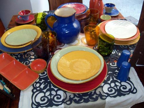 Service de 6 D'Assiettes Céramique Fabriquées Main Série Mediterraneo Nouveauté