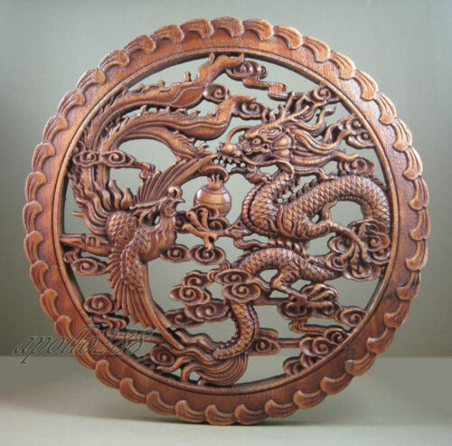 Chinese hardwood Carving Panel Of Dragon Phoenix