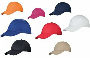BASEBALL-CAP-100-COTTON-HAT-10-COLOURS-US-BASIC-SALE-ADULTS-BASEBALL-HAT
