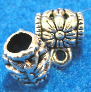 10Pcs-Tibetan-Silver-FLOWER-BAILS-Pendant-or-Charm-Connectors-Findings-BA12