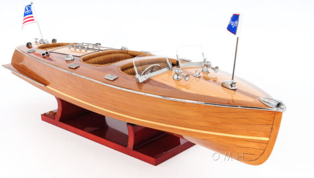 """Chris Craft Triple Cockpit Runabout Wooden Model 24"""" Classic Mahogany Speed Boat"""