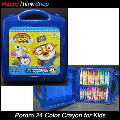 Pororo 24 pcs Color Crayon Set For Kids(Oil Pastel) + Cute Pororo Sticker