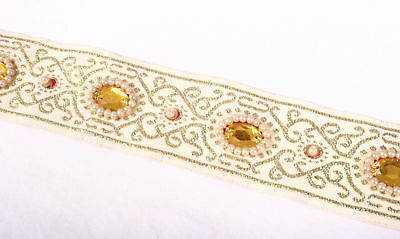 Amber Crystal Beaded Gold Metallic Pearl Fabric Trim 1-7/16 Inches Wide NEW