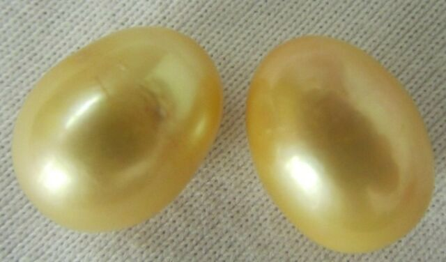PAIR SOUTH SEA 17x12MM GOLD LOOSE PEARL HALF DRILLED