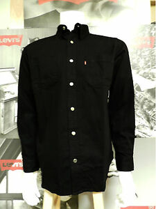 LEVI S MEN S LONG SLEEVE CLASSIC COTTON TWILL WORK SHIRT BLACK  44334bbbd99f